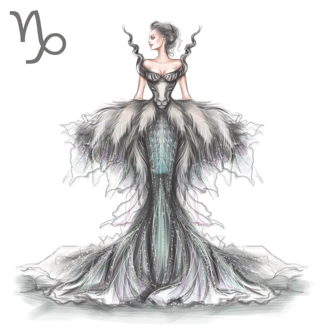 10-Capricorn-Shamekh-Bluwi-Zodiac-Haute-Couture-Exquisite-Fashion-Drawings-www-designstack-co