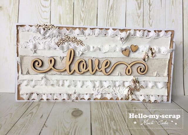 kartka w stylu rustykalnym z napisem Love
