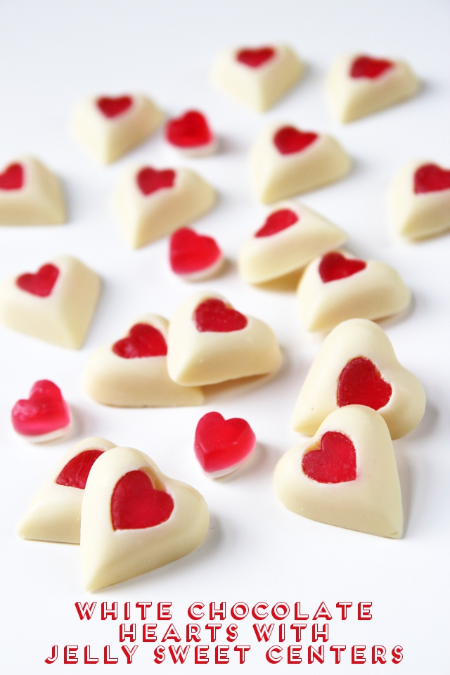 Valentine's Day White Chocolate Hearts With Jelly Sweet Centers.