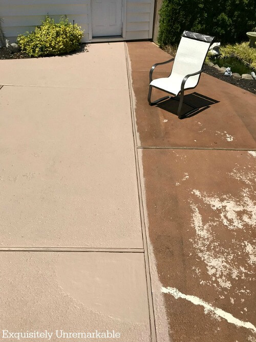 Before And After Painted Cement Patio with one side painted and other still cracked and faded.