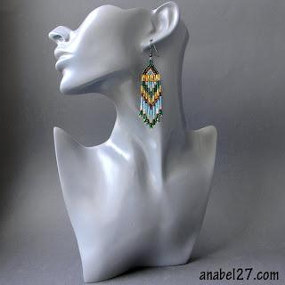 купить серьги из бисера необычные украшения ручной работы сережки