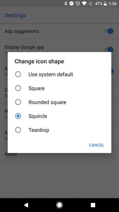 android 8.0 icon shapes