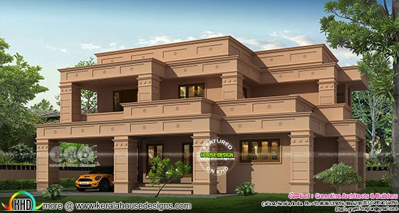 Flat roof mud color Colonial style house