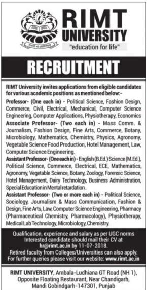 Rimt University Recruitment 2019 Application Form