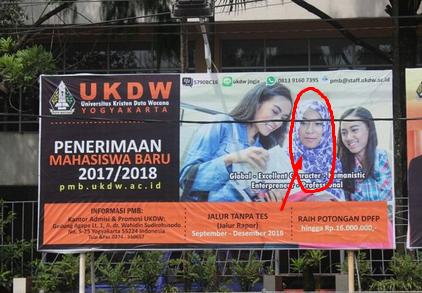 Hanya pasang foto wanita berhijab saja, Baliho UKDW dipaksa diturunkan oleh FUI
