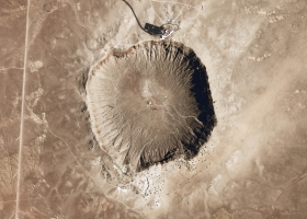 Picture of a meteorite crater.