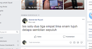 hasil text post secara bersamaan ke group facebook