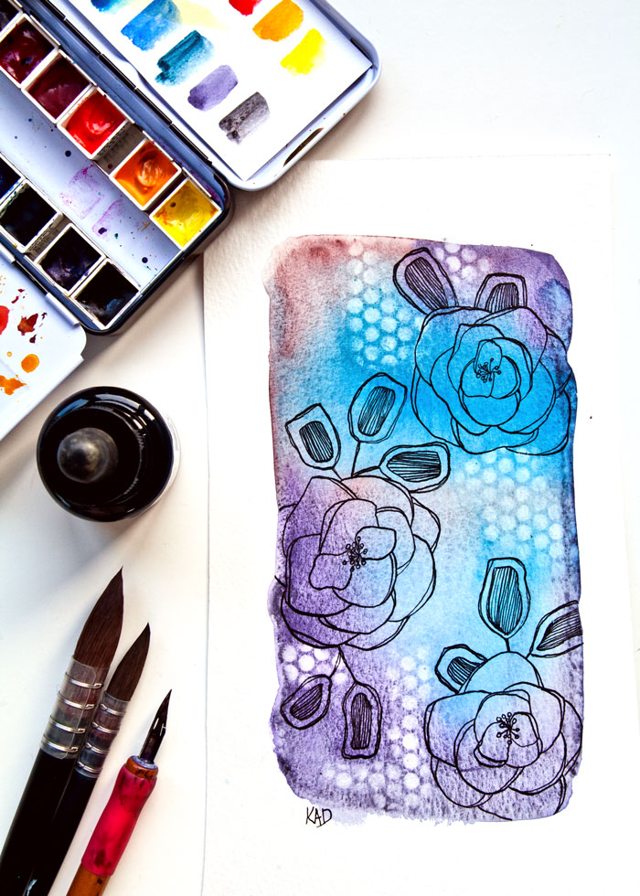 Watercolor and ink flower drawing and how to add more texture. Video by Kim Dellow