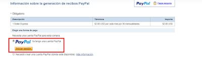 Opción paypal para 1dollarexpress
