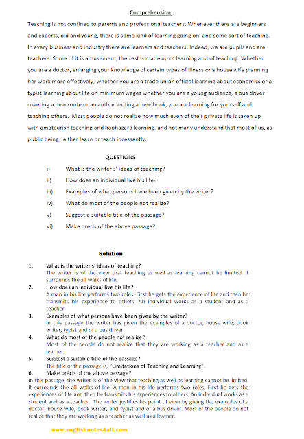 how to attempt ba english comprehension,ba english comprehension passage