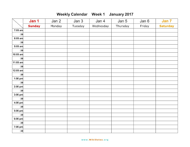 Weekly Calendar 2017 Templates | Word Pdf Excel - Get Printable