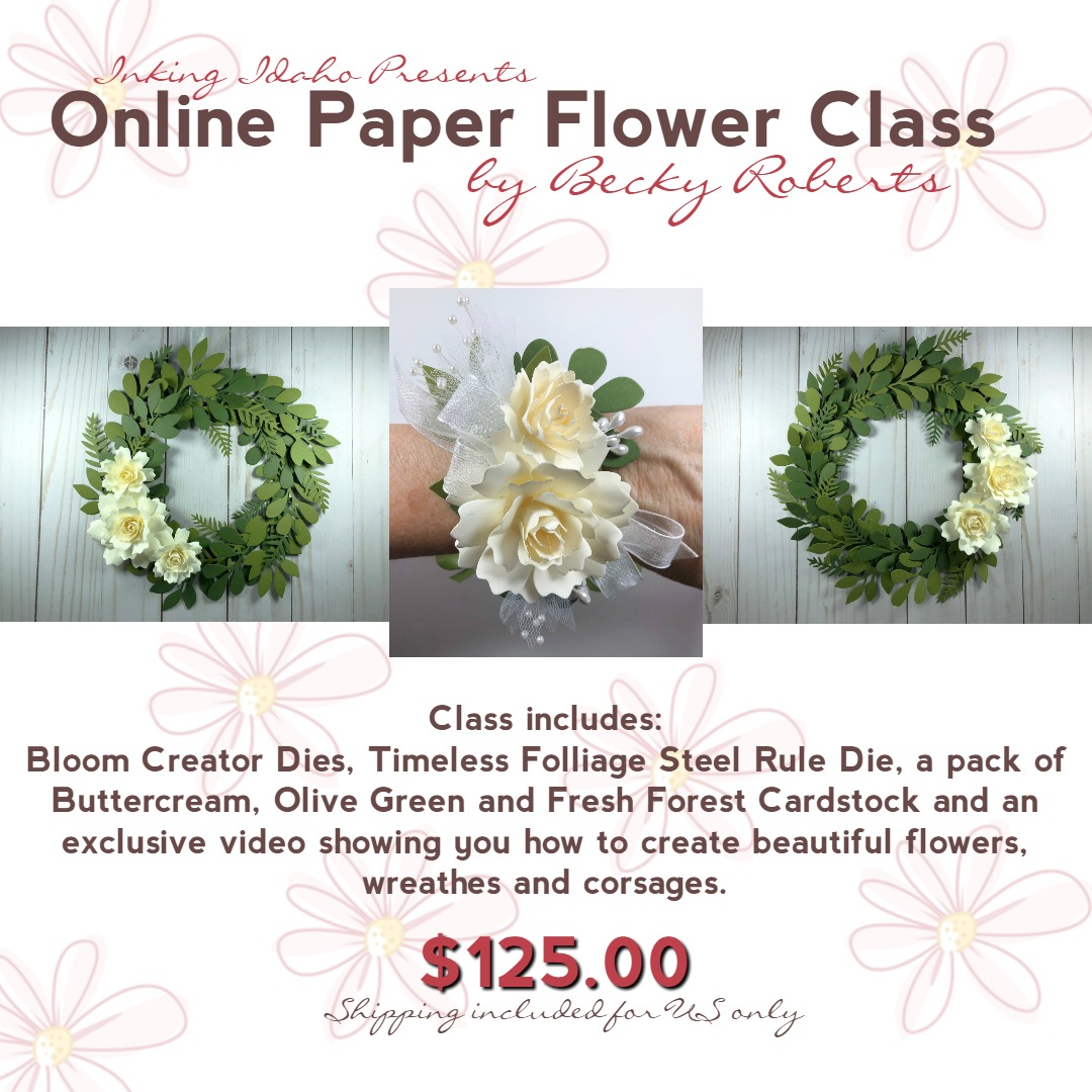 Paper flowers online class is now available inking idaho bloglovin im excited to finally bring you an online class showing you how to make paper flowers wreaths and wrist corsages the possibilities are endless once you mightylinksfo