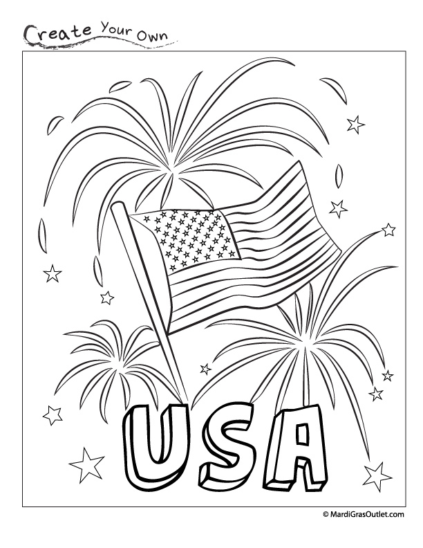Party ideas by mardi gras outlet happy fourth usa for Free 4th of july coloring pages