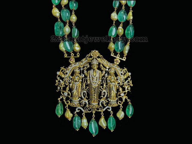 Balaji Pendant with Emerald Drops