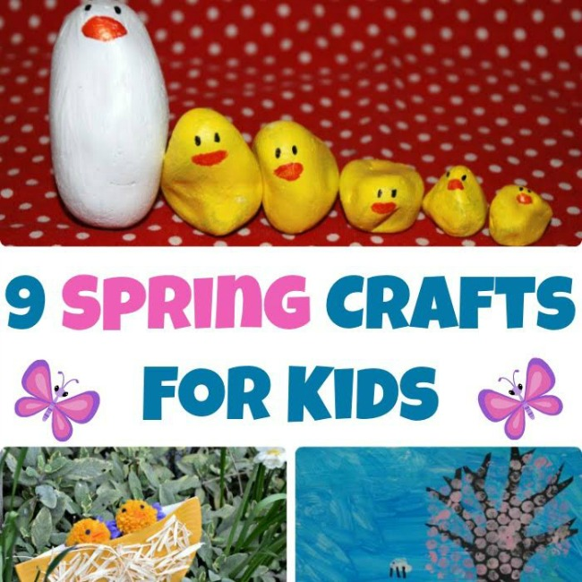9 Spring crafts for kids. Easy art and craft ideas for preschoolers and school aged children.