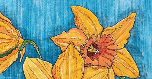 Blue Moon River Daffodils And Blue Crab Green Water