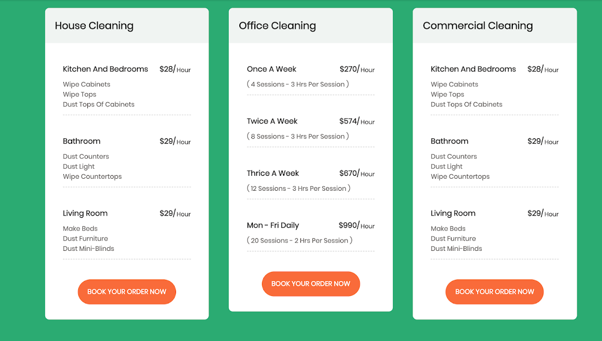 Pricing table UI design