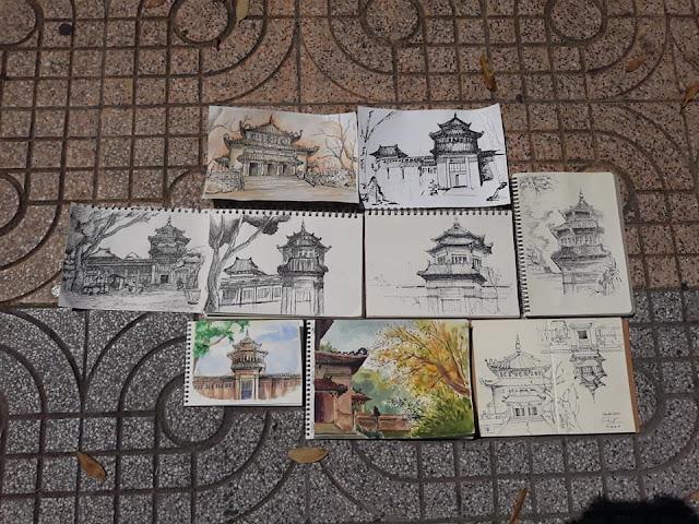Tranh ký họa phong cảnh ở Thảo Cầm Viên - nhóm SV Zest Art
