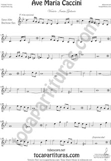 Alto Saxophone and Baritone Sax Sheet Music Ave Maria by Caccini  Classical Music Scores  Saxofón Alto y Sax Barítono Partitura del Ave María de Caccini Sheet Music for Alto and Baritone Saxophone Music Scores