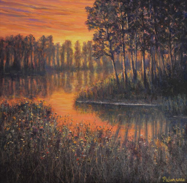 Painting of a Marsh Sunset with Trees and Lake