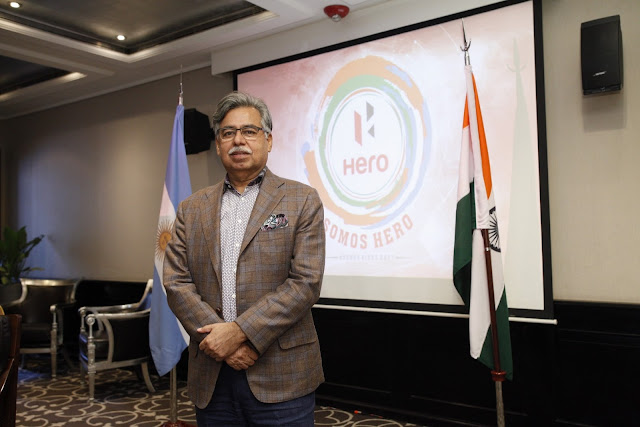 Pawan Munjal Chairman of Hero MotoCorp at the launch of Brand Hero in Argentina