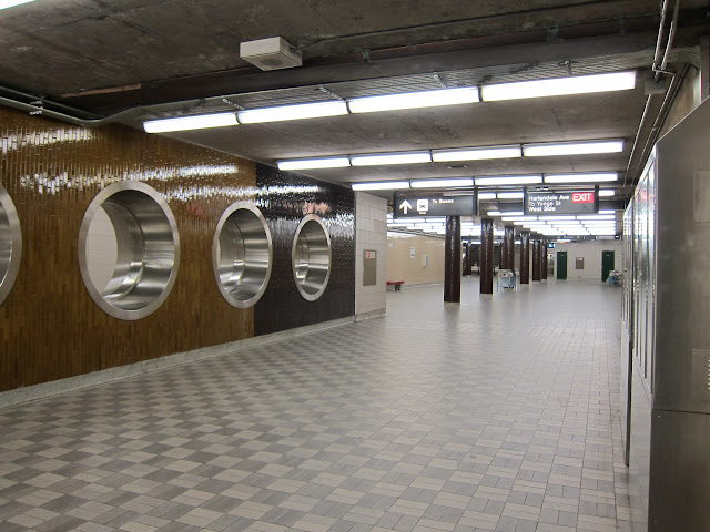 Sheppard station's pedestrian concourse to the bus platform