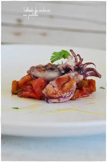 salteado de verduras con calamar