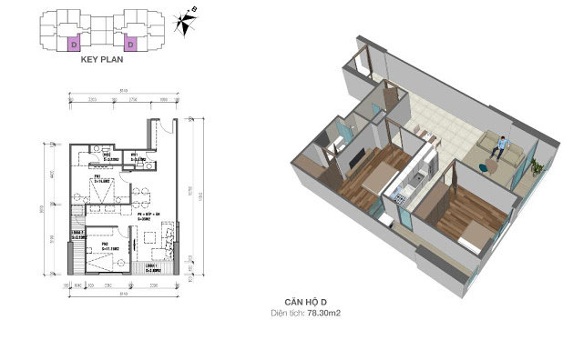 Mặt bằng căn hộ 78,3 chung cư Eco Dream City