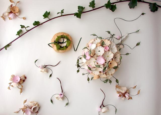 matrimonio green a tema botanico organico: portafedi e accessori damigelle e sposo
