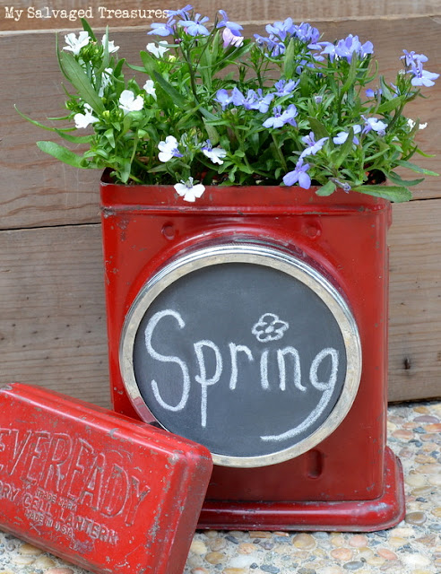 repurposed Eveready dry cell lantern chalkboard and planter