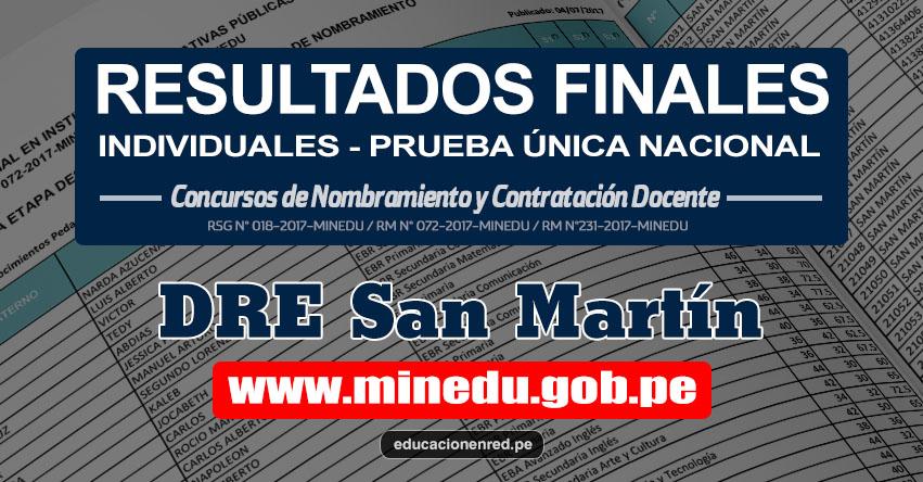 DRE San Martín: Resultado Final Individual Prueba Única Nacional y Relación de Postulantes Habilitados para Etapa Descentralizada Nombramiento Docente 2017 - MINEDU - www.dresanmartin.gob.pe