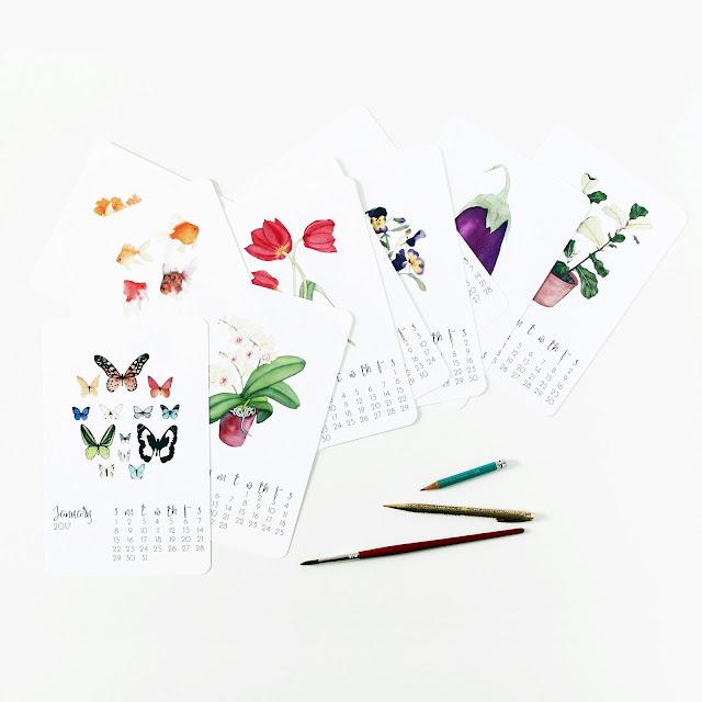 watercolor art print set, watercolor calendar, 2017 Calendar, Anne Butera, My Giant Strawberry, sale