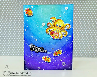 You Octopi My Heart Card by Samantha Mann for Newton's Nook Designs, Distress Inks, Ink Blending, Valentine's Day, #newtonsnook #distressink #inkblending #valentine #cards #lovecard