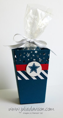 Stampin' Up! Popcorn Box for 4th of July, Independence Day, Summer Party Favor Gift Box #stampinup www.juliedavison.com