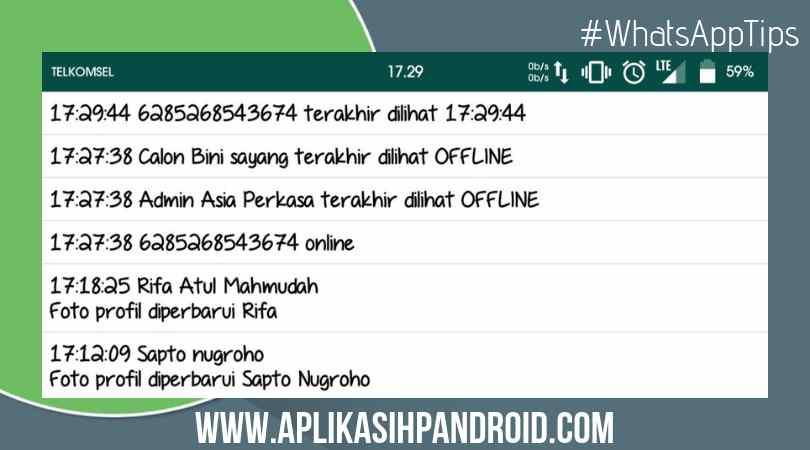 Cara melihat semua daftar teman online ofline di wa