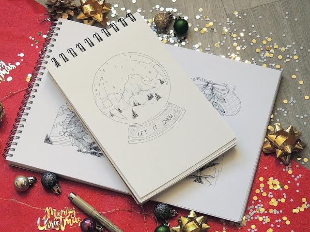 bullet journal christmas sketches blogmas glitterisblack