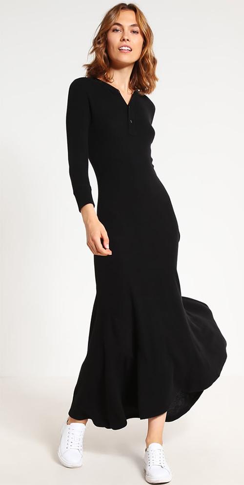 Robe longue noire en coton Polo Ralph Lauren