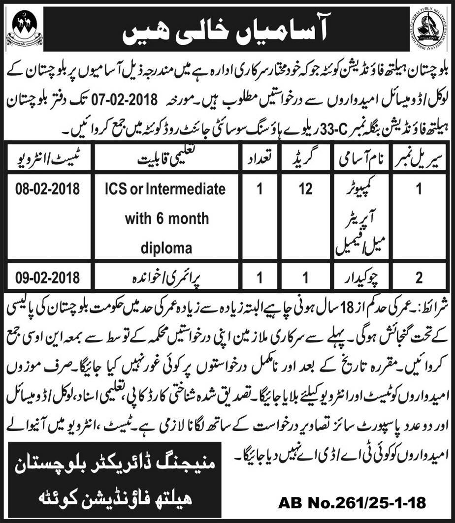 Jobs in Balochistan Health Foundation Government of Balochistan 2018