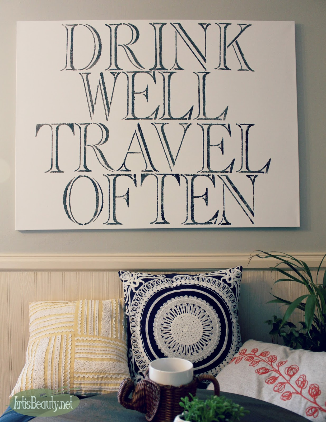 Art is beauty diy quote art without a cutting machine drink well travel often boho word art eclectic home decor do it yourself diy wall art solutioingenieria Gallery