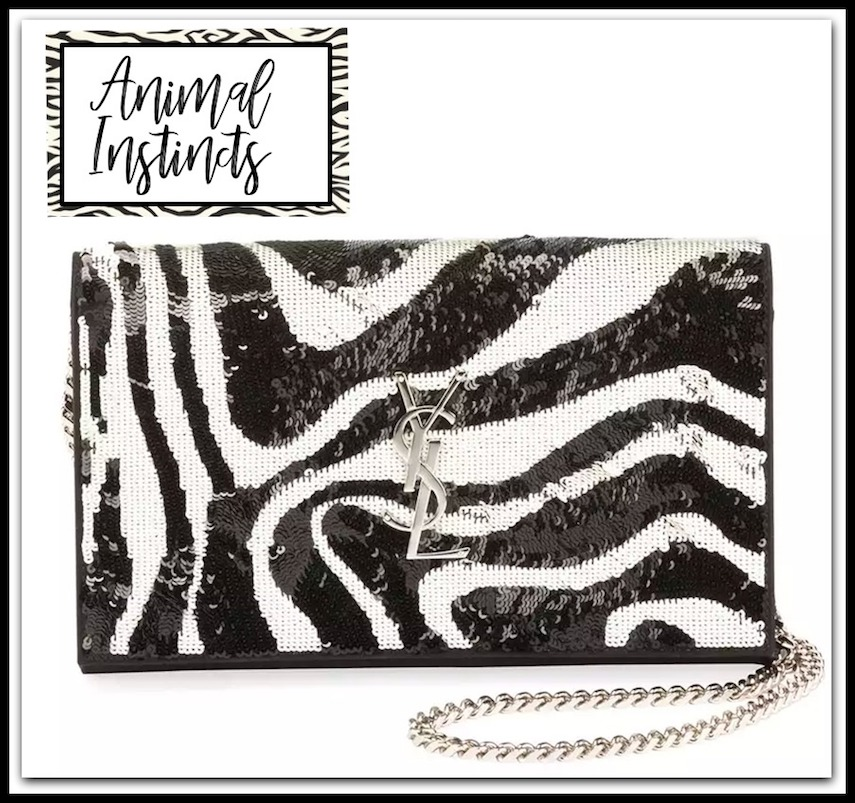 Saint Laurent Kate Small Zebra Sequin Tassel Crossbody Bag