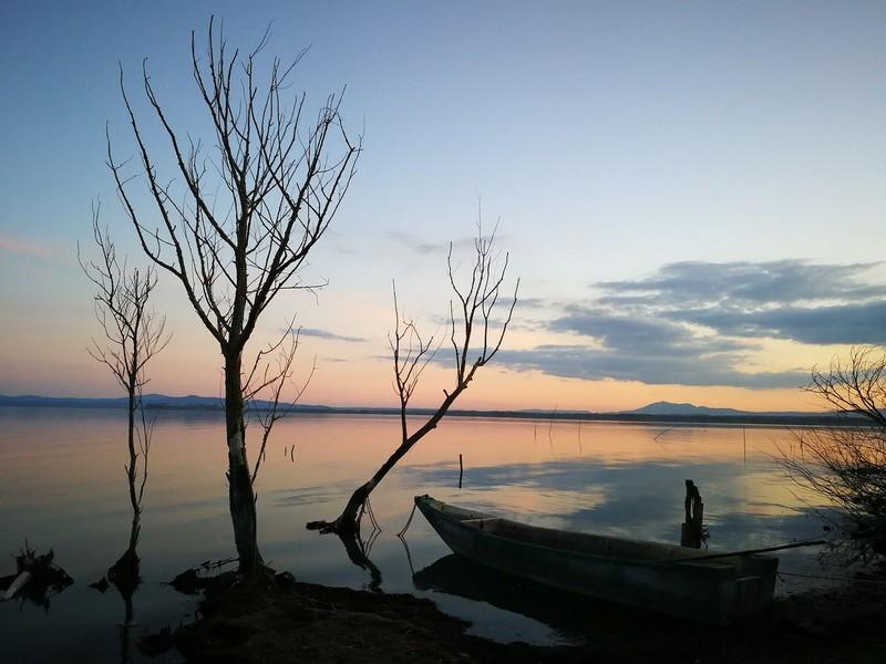 Peaceful landscape at lake Traismeno, Umbria, Italy