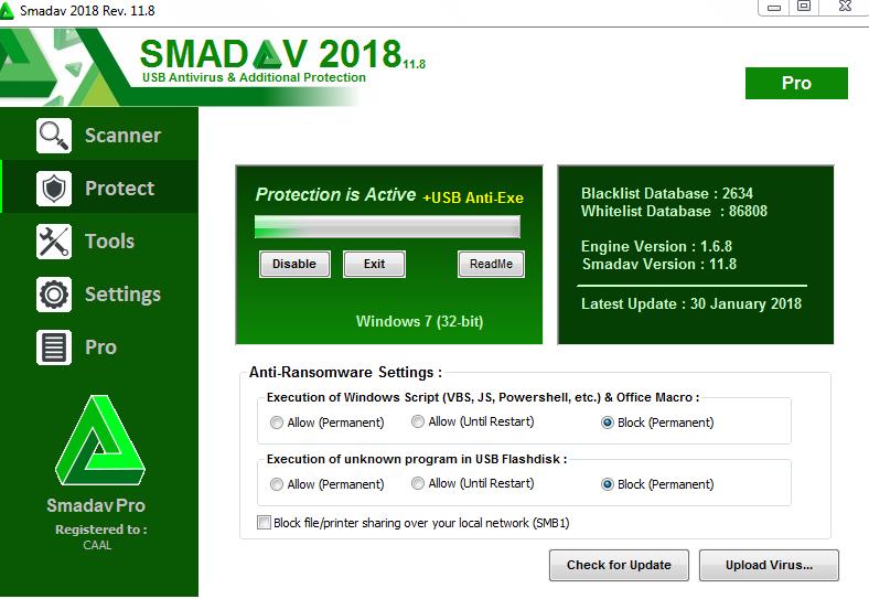 برنامج حماية الكمبيوتر الفيروسات Smadav