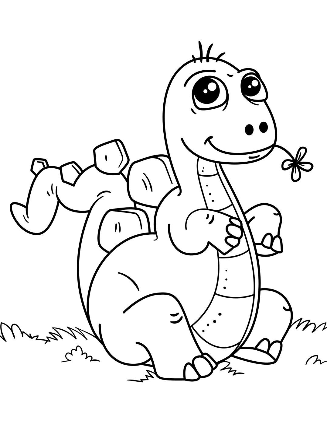 Tranh tô màu khủng long ngậm hoa