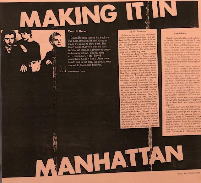 Cool It Reba: Music Sound & Output Magazine Article 1982