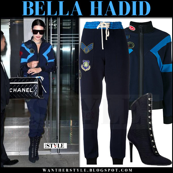 Bella Hadid in blue track jacket and blue track pants mr and mrs italy what she wore april 2017