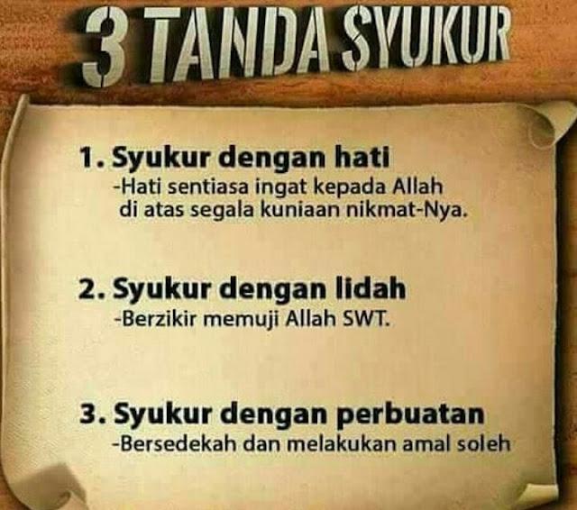 3 TANDA BERSYUKUR, syukur dengan hati, syukur dengan lidah, syukur dengan perbuatan