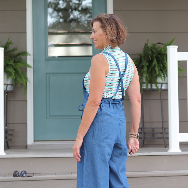 Sew House Seven's Burnside Bibs made from Style Maker Fabrics' Tencel Denim - back view