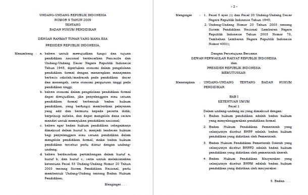 UU Nomor 09 Tahun 2009 Tentang Badan Hukum Pendidikan