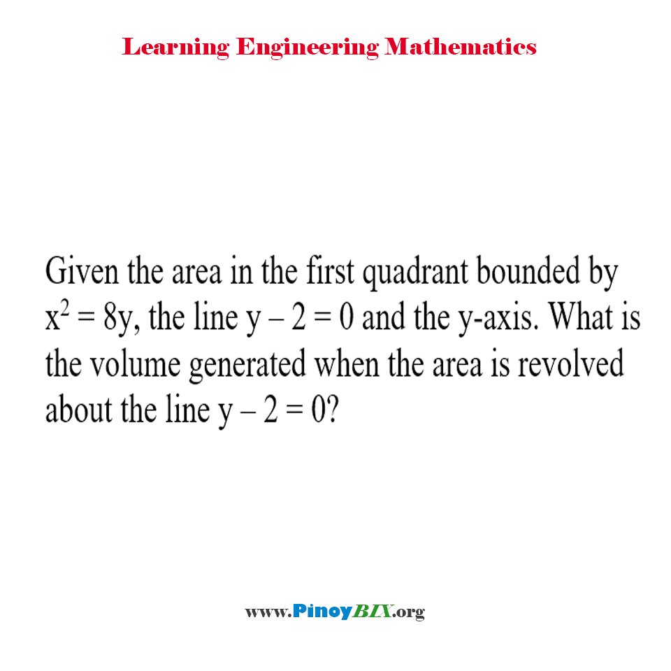What is the volume generated when the area is revolved about the line y – 2 = 0?