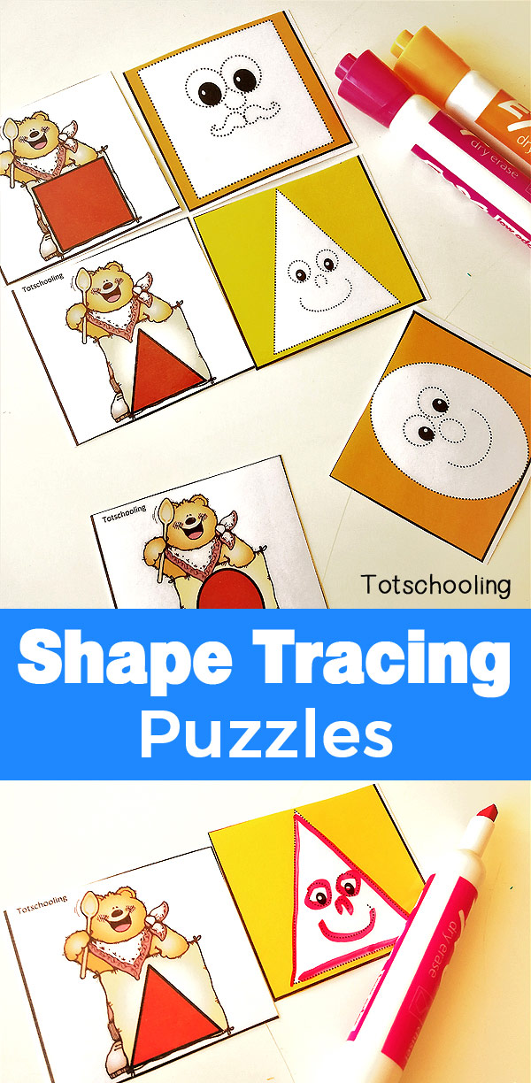 FREE printable puzzles for preschoolers to identify and trace shapes with a fun Bear theme. Great for fine motor skills and learning about shapes.